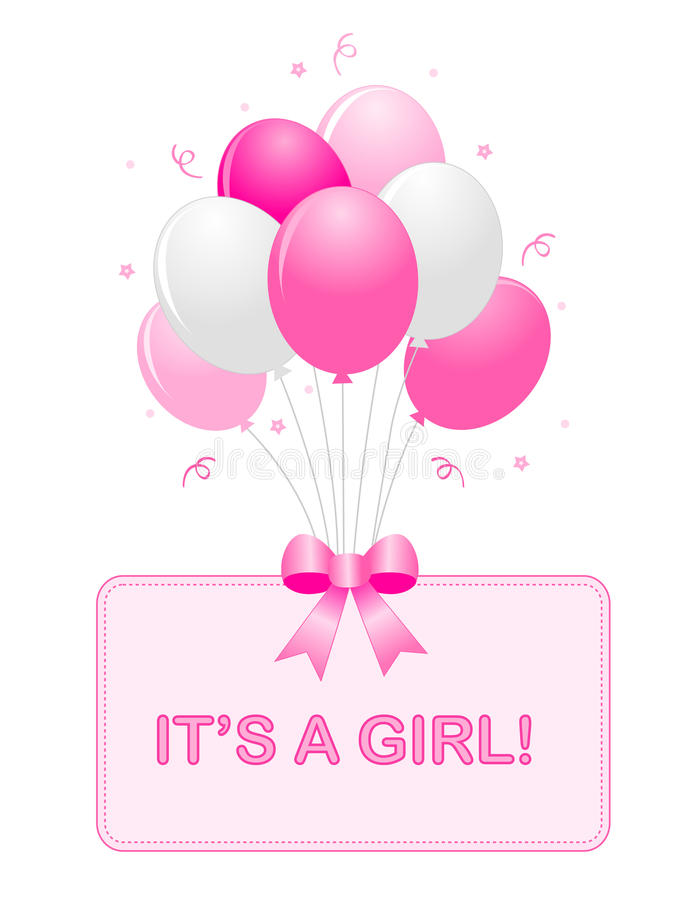 Baby girl announcement. Cute baby girl arrival card text with pink and white balloons isolated on white background. it's a girl card