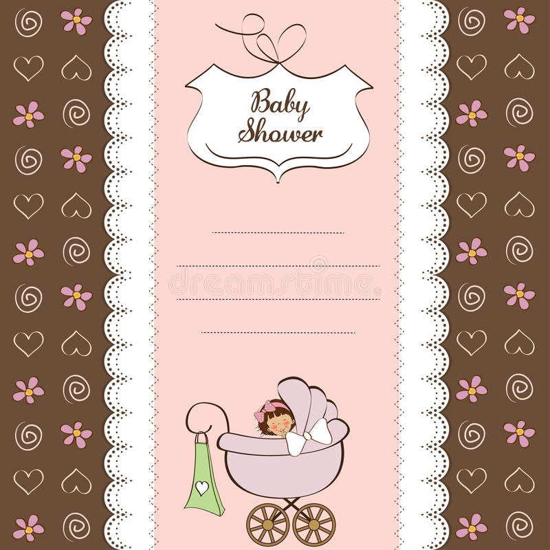 Download Baby Girl Announcement Card Stock Vector - Illustration: 23755713