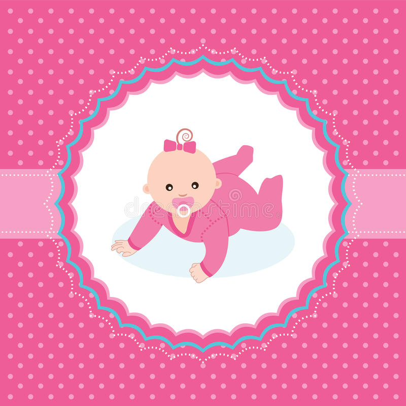 Download Baby Girl Announcement Card. Stock Vector - Image: 34849453
