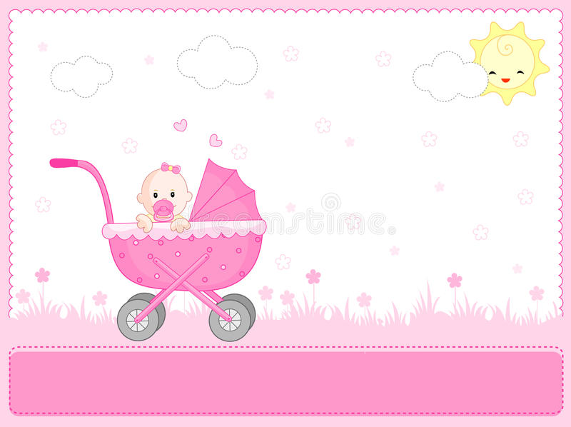 Download Baby girl arrival stock vector. Illustration of border - 12202121