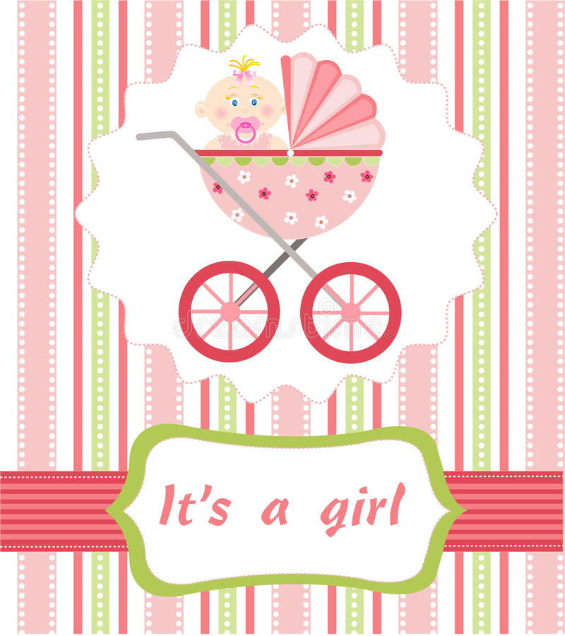 Baby girl arrival stock illustration