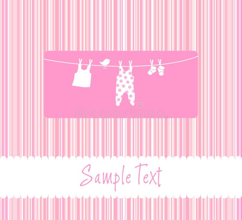 Baby girl arrival announcement card stock illustration