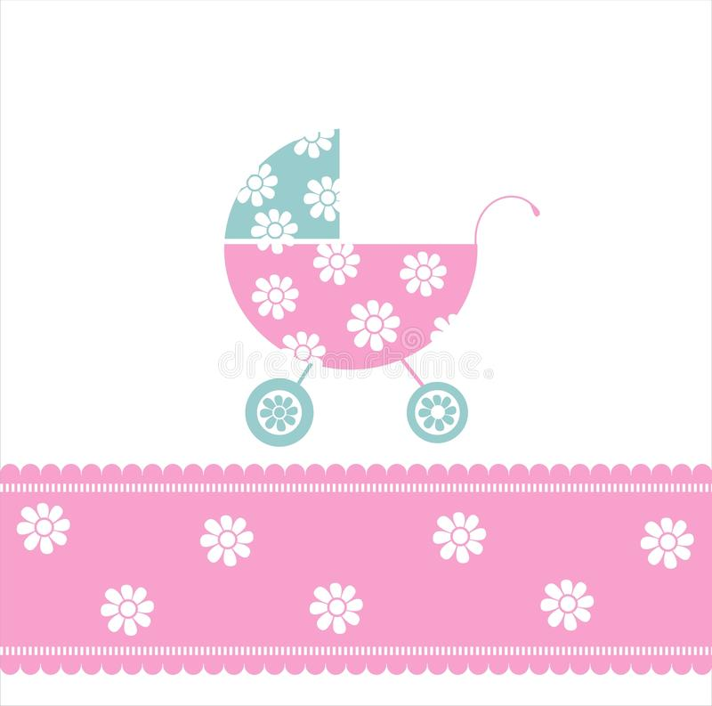 Baby girl arrival announcement card royalty free illustration