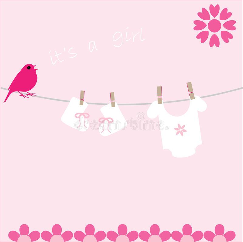 Baby Girl Arrival Announcement card. Bird on washing line with baby clothes singing the arrival of a new baby girl stock illustration
