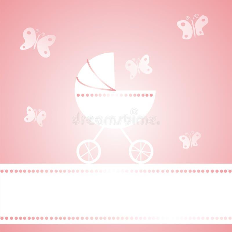 Baby girl arrival announcement card vector illustration