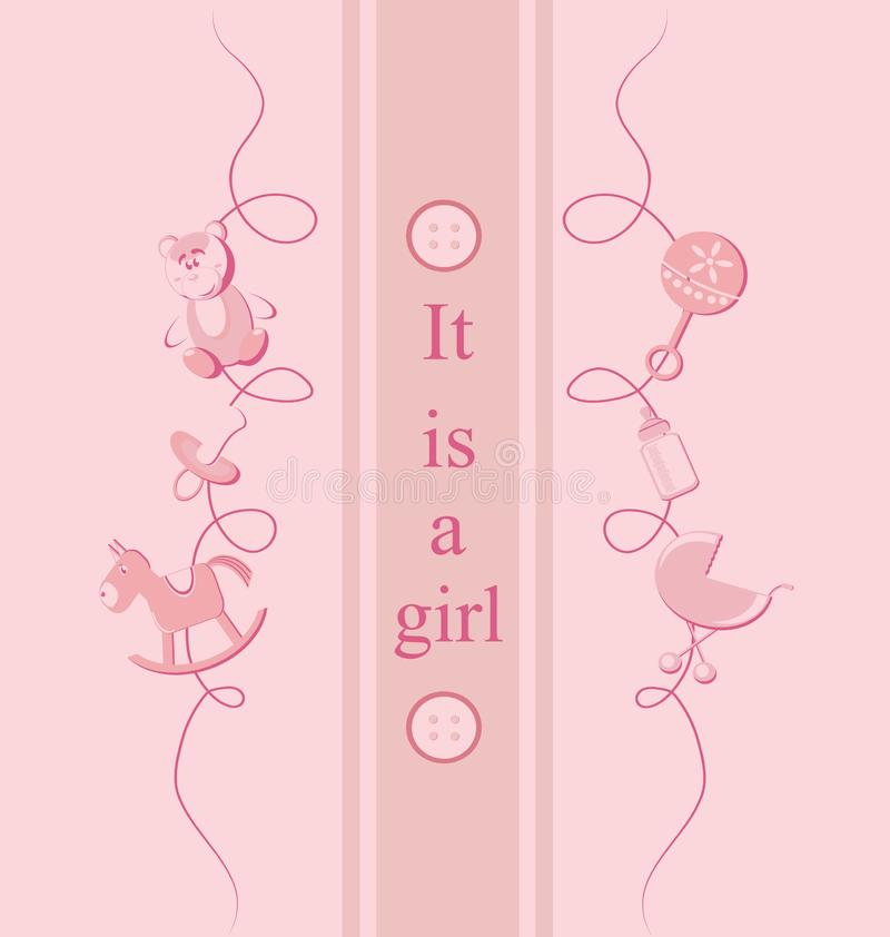 Baby girl arrival announcement card. royalty free stock photo