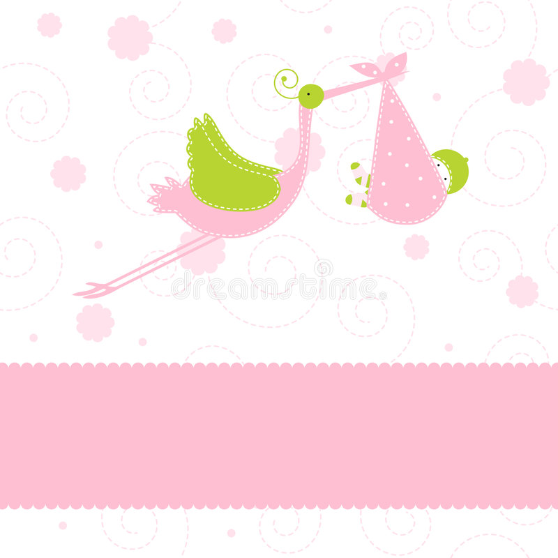 Download Baby Girl Arrival Announcement Card Stock Vector - Illustration of girl, happiness: 7263921