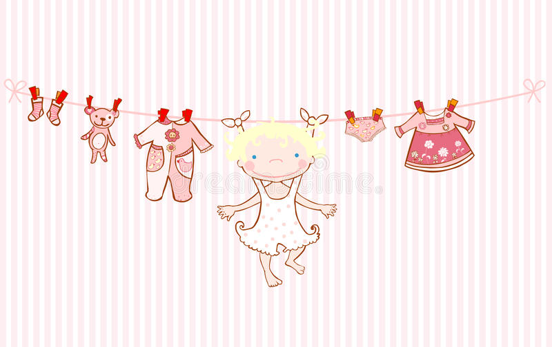 Baby girl arrival announcement card clothesline. Baby girl and clothes hanging on a clothesline. Perfect for baby shower, invitations and announcements vector illustration