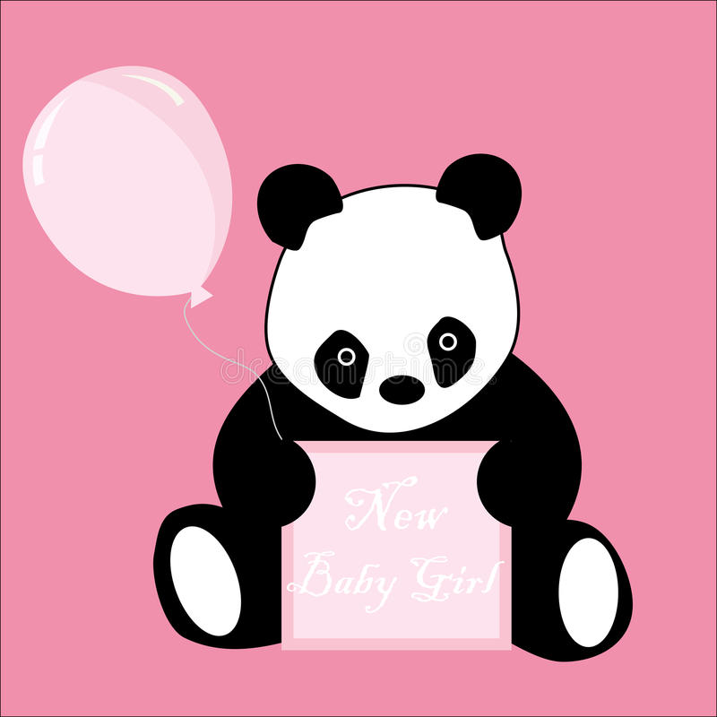 Download Baby Girl Arrival Announcement Panda Card Stock Illustration - Illustration: 14867334