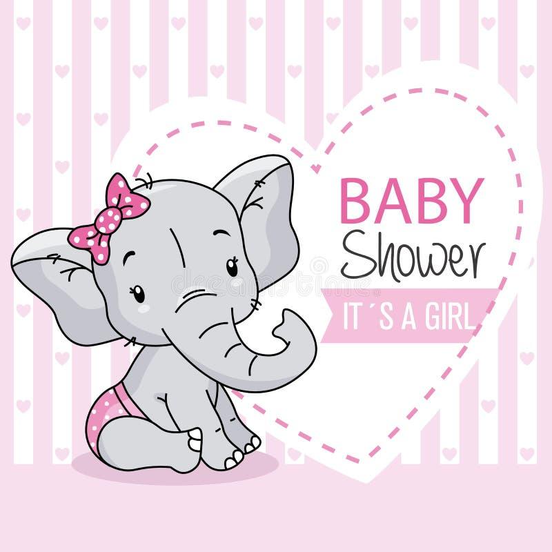Baby girl arrival card. cute baby elephant. stock illustration