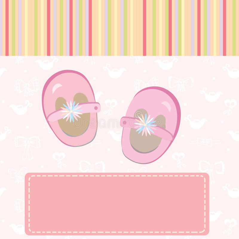 Download Baby Girl Arrival Card With Shoes Stock Vector - Illustration: 19452380