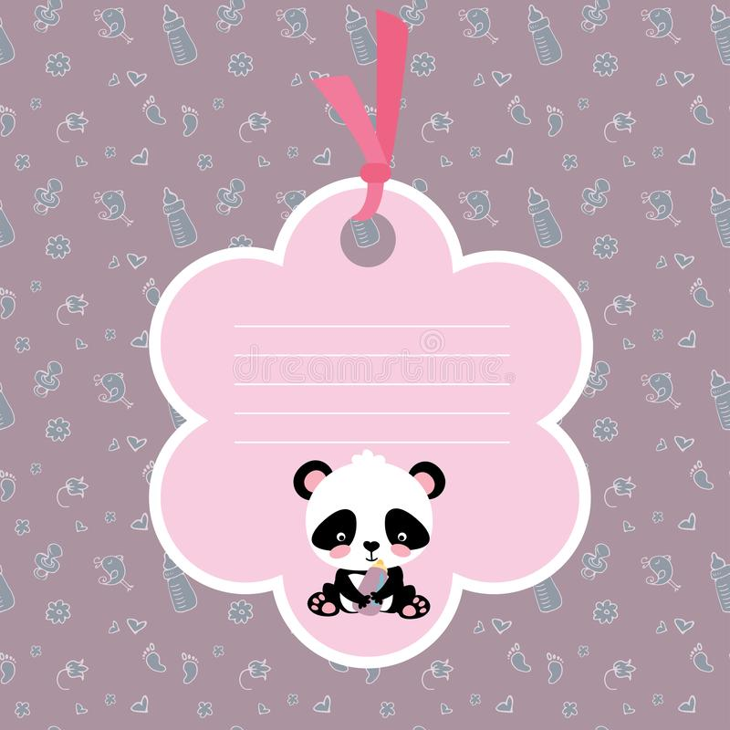 Baby girl arrival card or shower card with cute little panda royalty free illustration