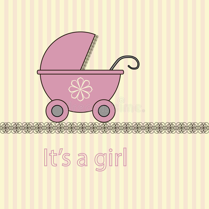 Baby girl arrival card. In vector royalty free illustration