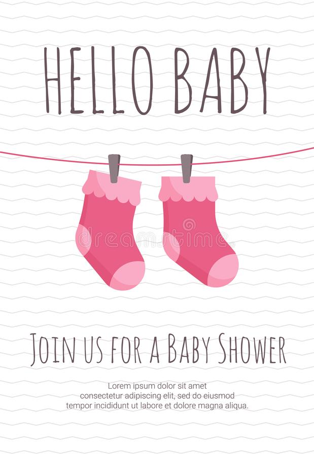Baby girl arrival and shower invitation template with pair of pink toddler socks hanging on pins. Baby girl arrival and shower invitation template with pair of vector illustration