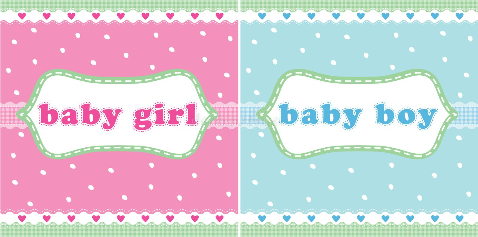 Baby girl and baby boy card royalty free illustration