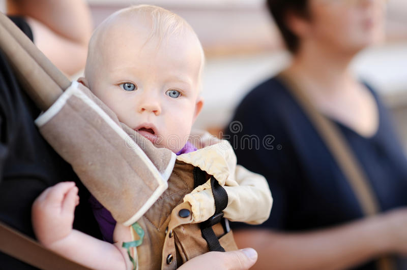 Download Baby Girl In A Baby Carrier Stock Image - Image of adorable, male: 30390575