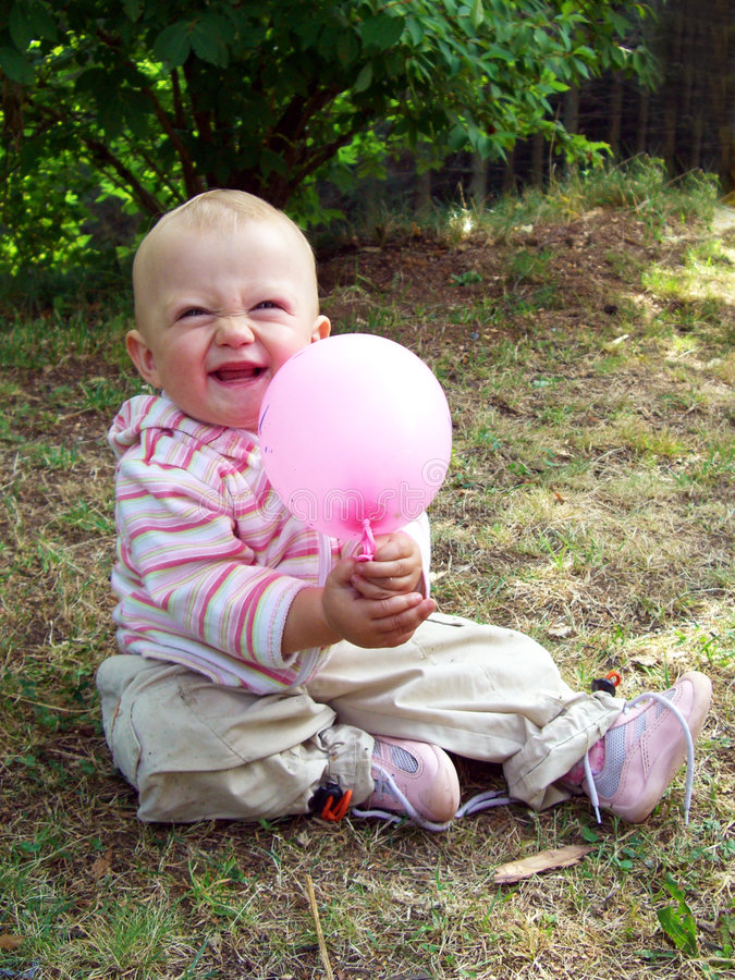Download Baby girl with balloon stock photo. Image of funny, playful - 6256518