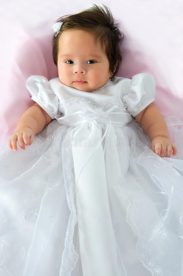 Baby Girl In Baptism Dress stock photos