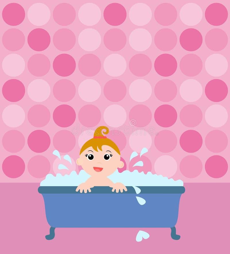 Baby girl in the bathtub stock illustration