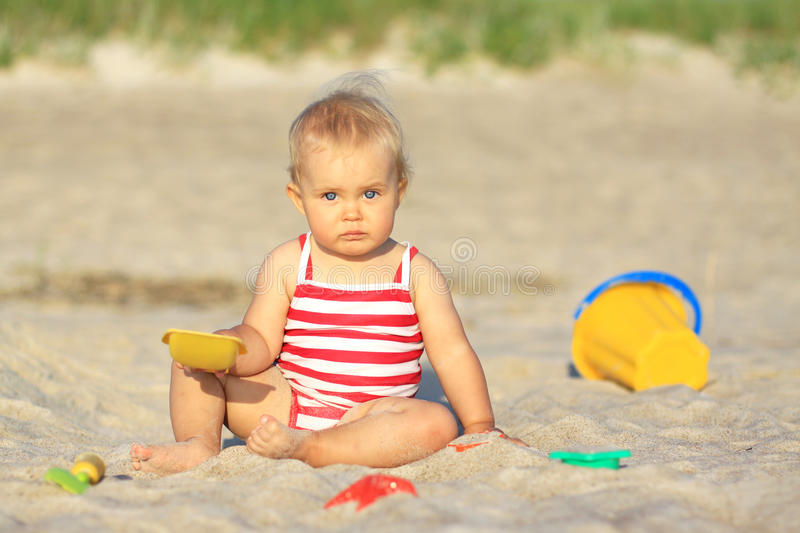 Download Baby girl on a beach stock photo. Image of sand, summer - 17825002