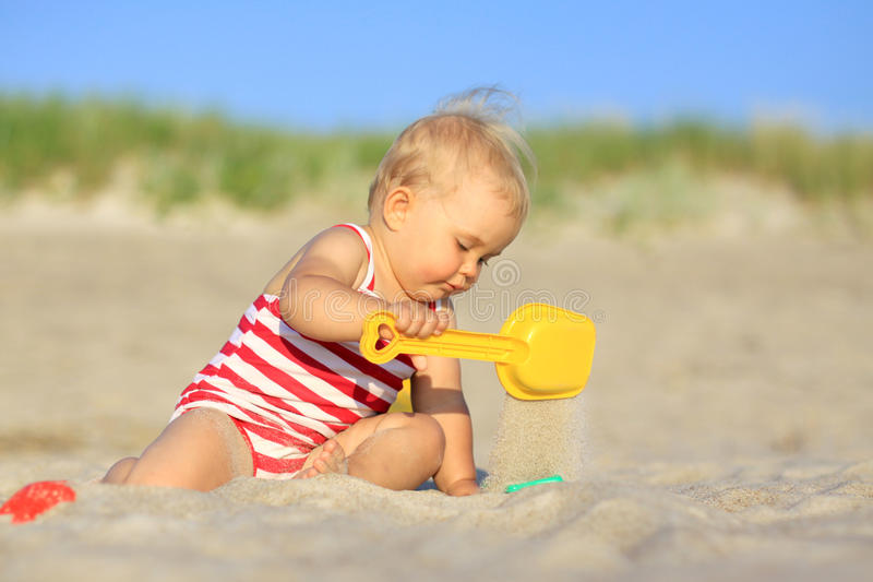 Download Baby girl on a beach stock image. Image of toddler, beach - 17825005