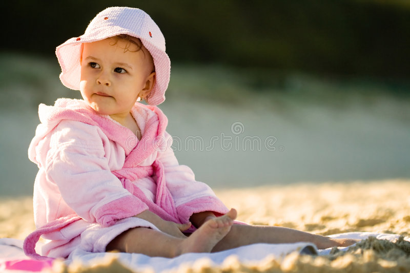 Download Baby girl on the beach stock photo. Image of sandy, sitting - 2844932