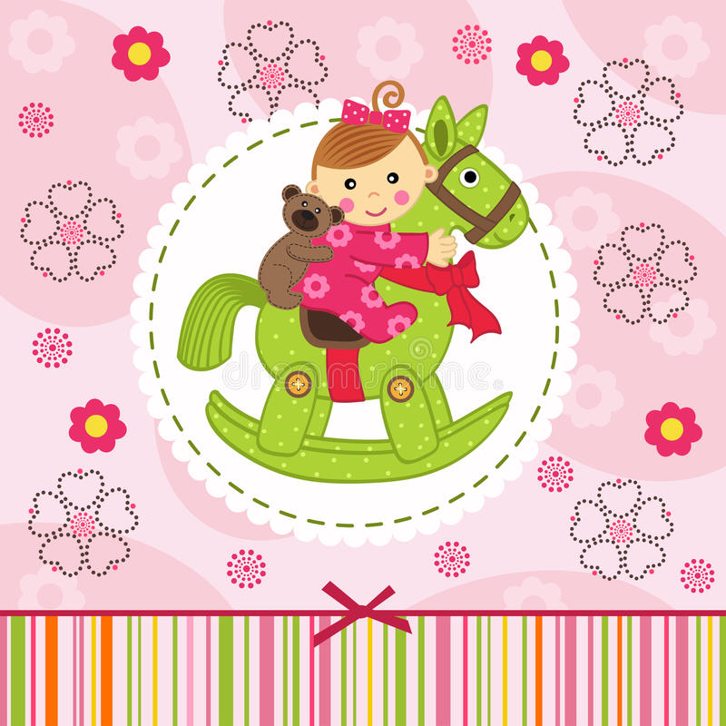 Baby girl with bear on horse. Vector illustration, eps stock illustration