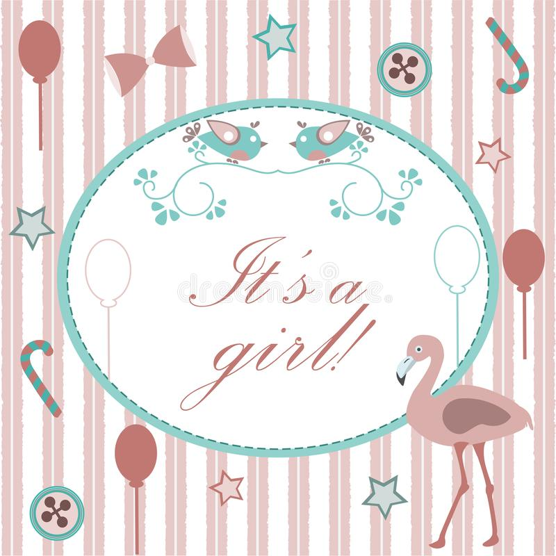 Baby girl Birth announcement. Baby shower invitation card. Cute Pink Flamingo Bird announces the arrival of a baby girl. Retro stock illustration