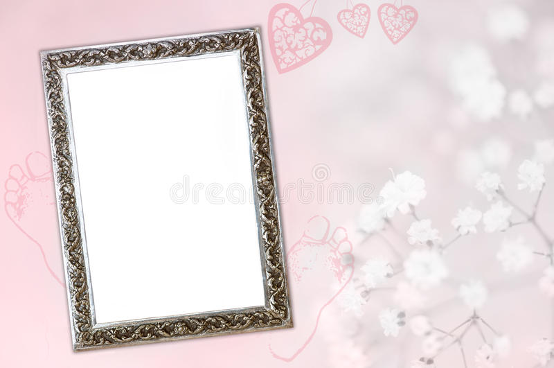 Baby girl birth card. Cute pink baby announcement card with silver frame to add your own baby picture and copy space to add new baby's name and birth details stock photos