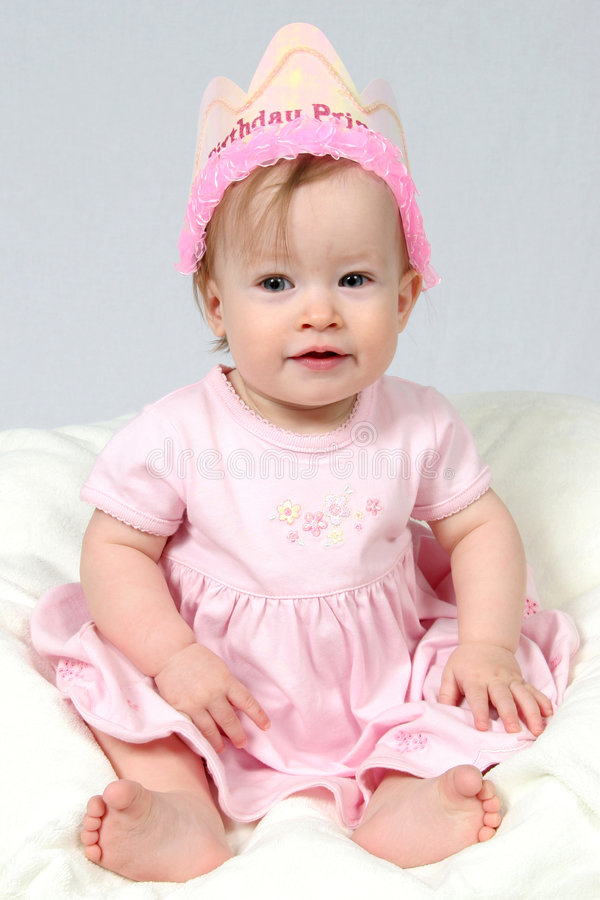 Download Baby Girl With Birthday Hat Stock Photo - Image: 2107844