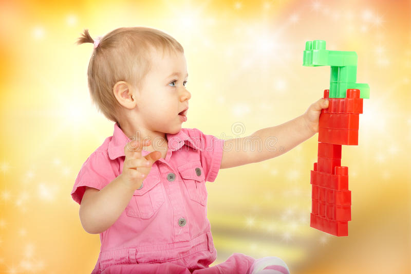 Baby girl with blocks royalty free stock photo