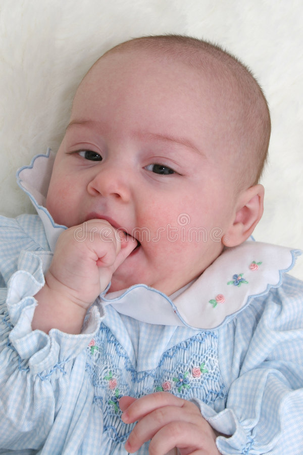 Baby Girl in Blue 02 stock photos