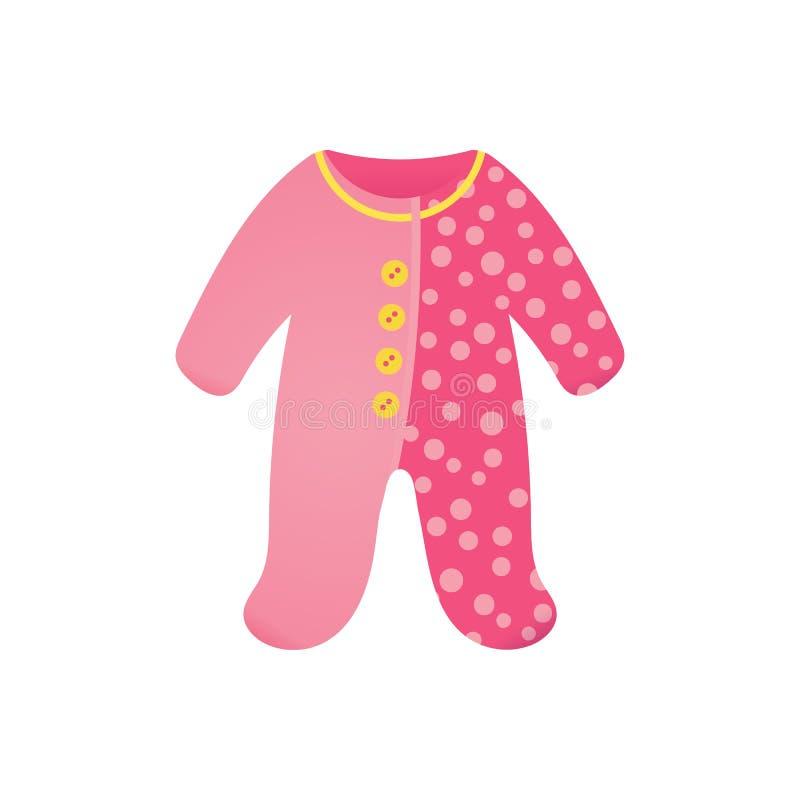 Baby girl bodysuit, romper for a newborn. Pink Baby girl bodysuit, cute romper for a newborn. Baby shower cartoon element. Vector illustration isolated on white vector illustration