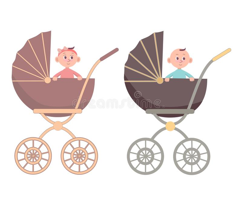 Baby Girl and Boy in the carriage. Isolated on white background. Vector cartoon illustration in flat style royalty free illustration