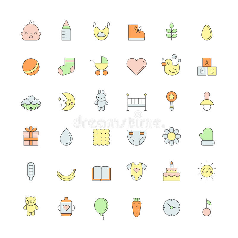 Baby (girl and boy) cute outline colored icons vector set. royalty free illustration