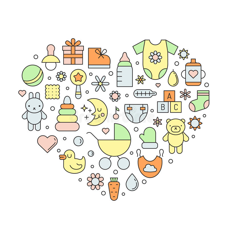 Baby (girl and boy) cute outline vector heart background. royalty free illustration