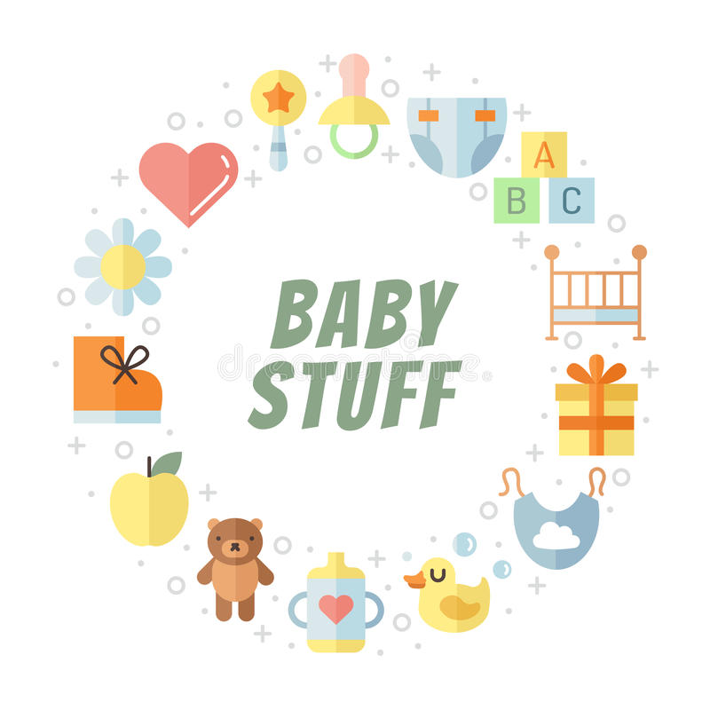 Baby (girl and boy) stuff flat multicolored cute vector circle frame. Minimalistic design (part two). stock illustration