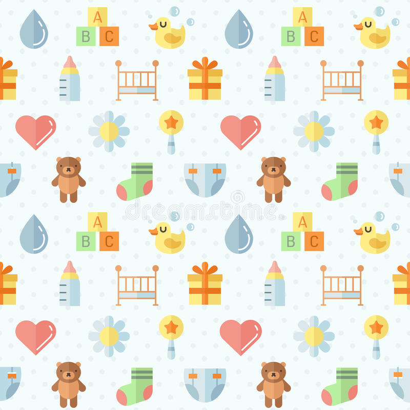 Baby (girl and boy) stuff flat multicolored cute vector seamless pattern. Minimalistic design. Part two. stock illustration