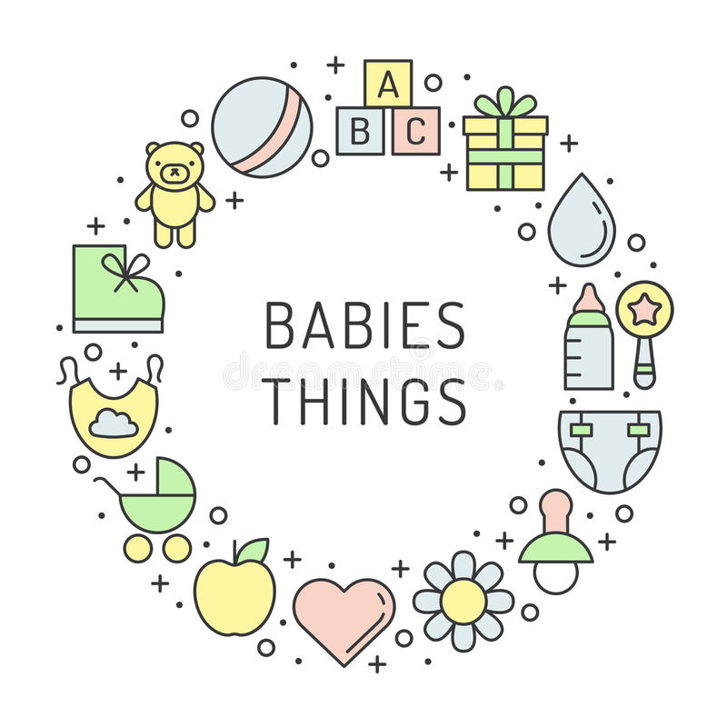 Baby (girl and boy) things outline multicolored cute vector circle frame background. Minimalistic design. Part one. vector illustration