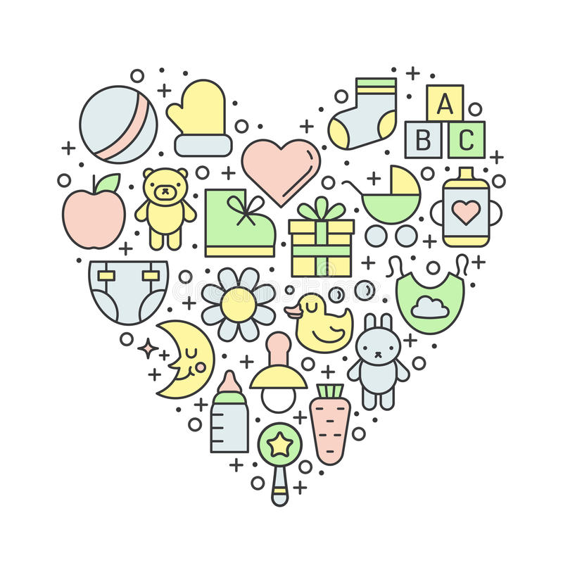 Baby (girl and boy) things outline multicolored cute vector heart background. Minimalistic design. stock illustration