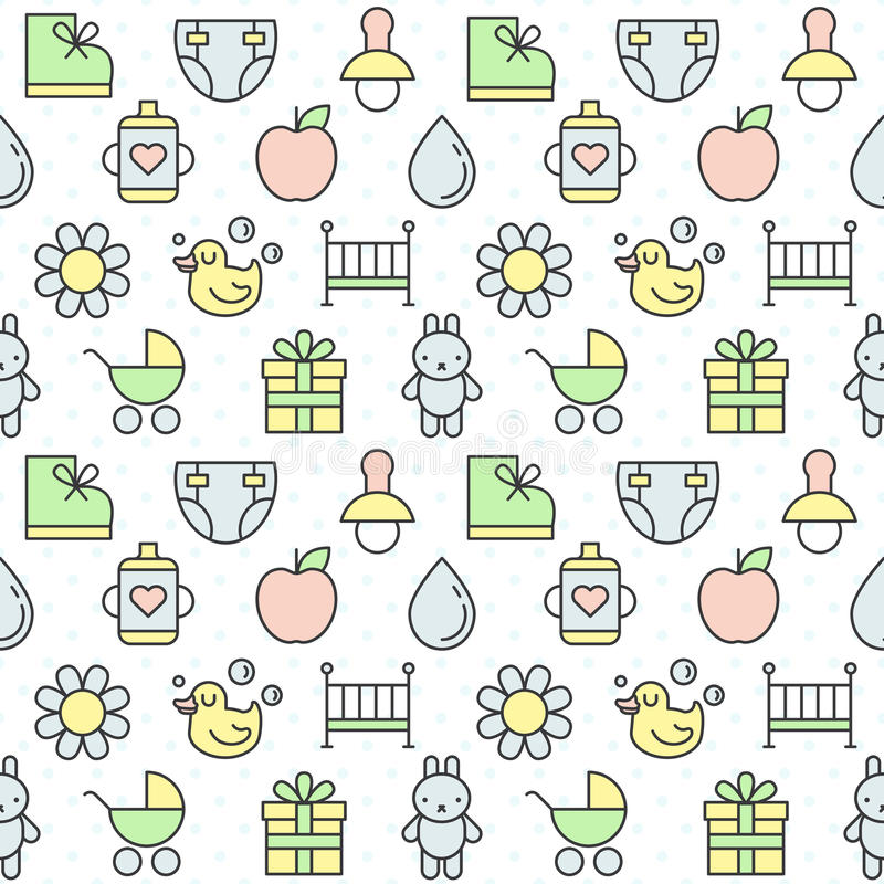 Baby (girl and boy) things outline multicolored cute vector seamless pattern. Minimalistic design. Part two. royalty free illustration
