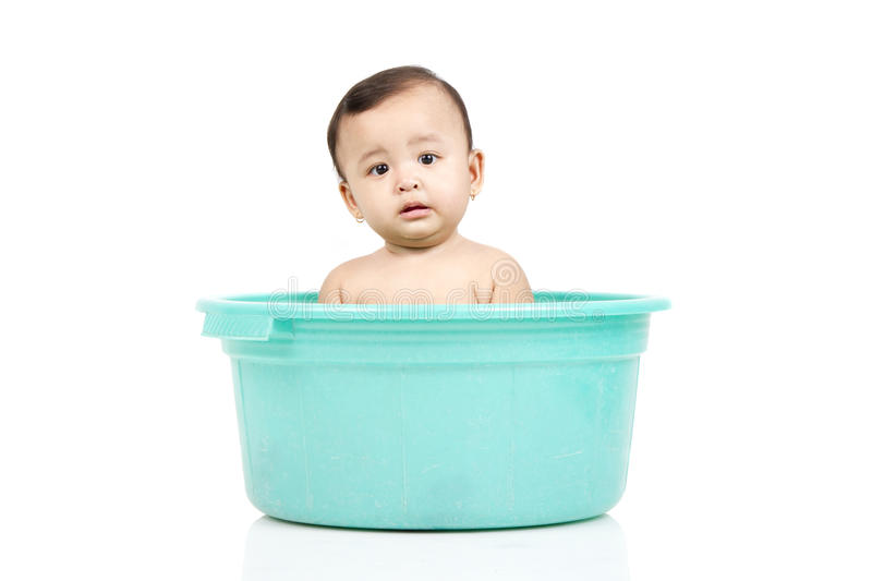 Download Baby girl in a bucket stock image. Image of indonesian - 26383495