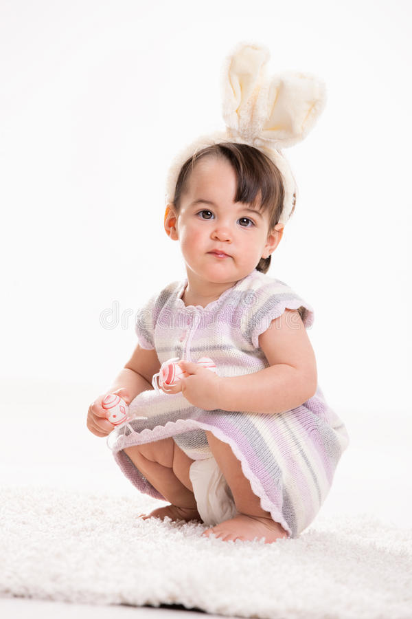 Baby Girl With Bunny Ears Royalty Free Stock Photography