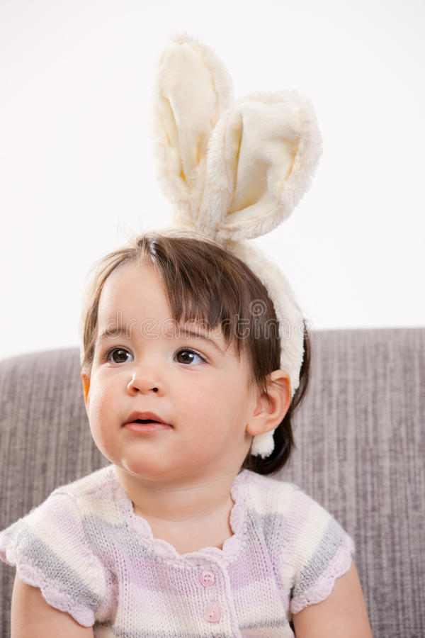 Download Baby girl with bunny ears stock image. Image of cute - 12544155