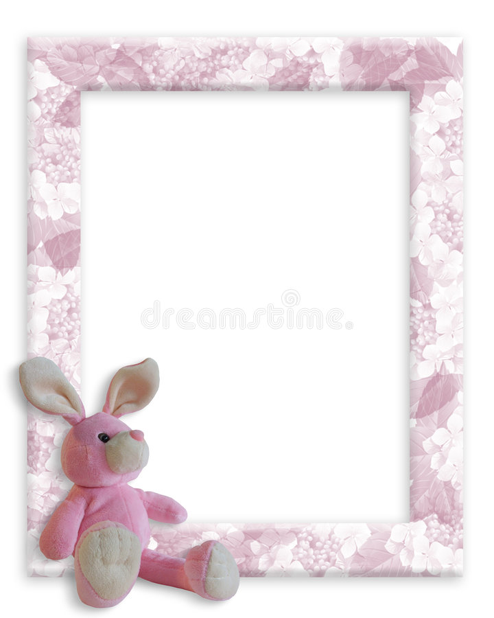 Baby Girl Bunny Frame. Image and illustration composition for Easter, frame, Birth announcement or Shower invitation