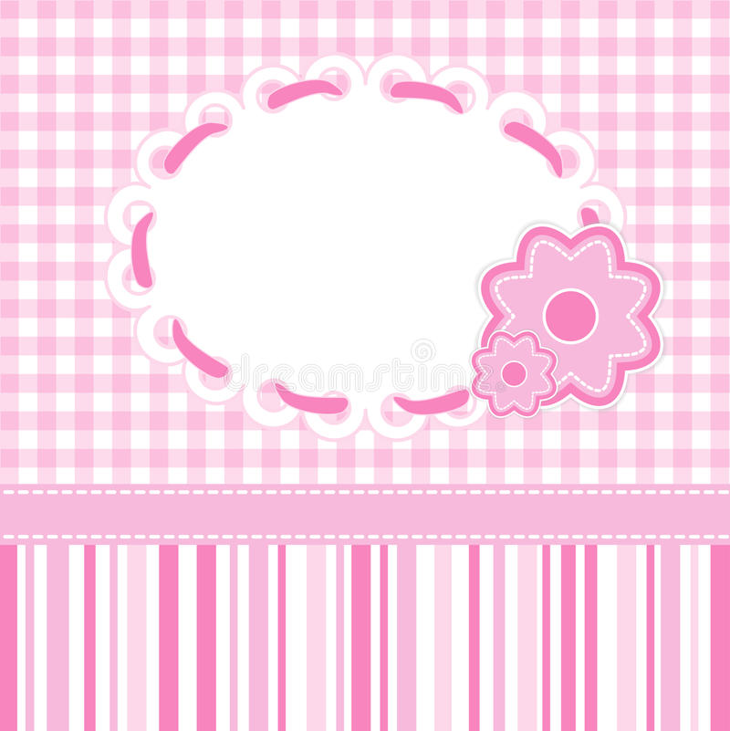Baby girl card. With stripes and flowers. Vector eps10 vector illustration