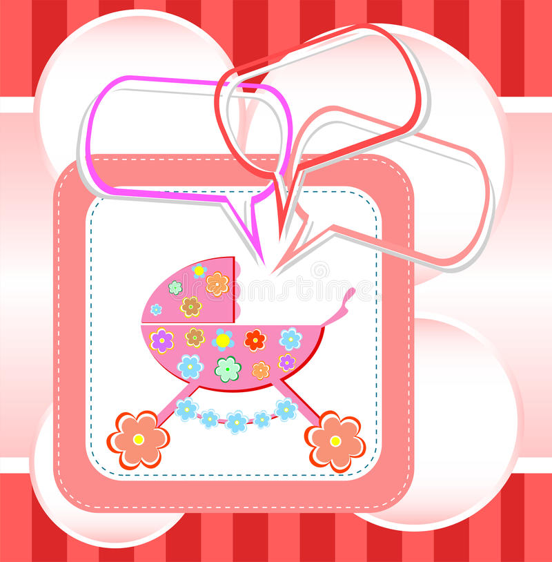 Baby girl card, child arrival announcement card royalty free illustration