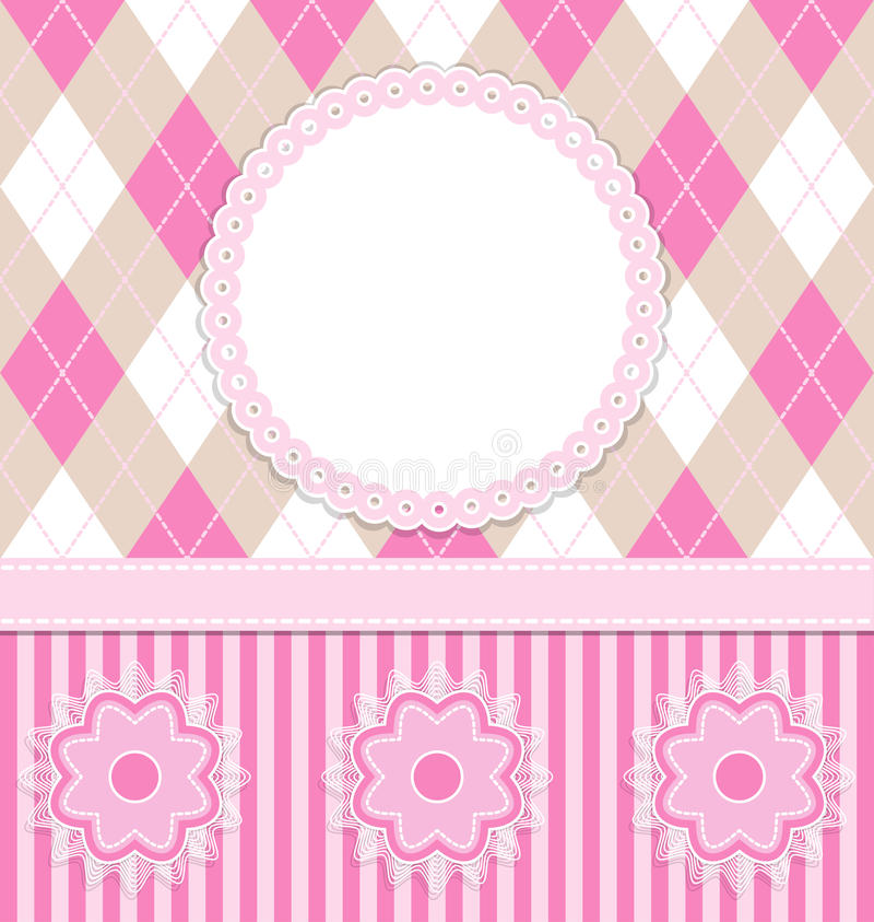 Baby girl card with flowers stock illustration