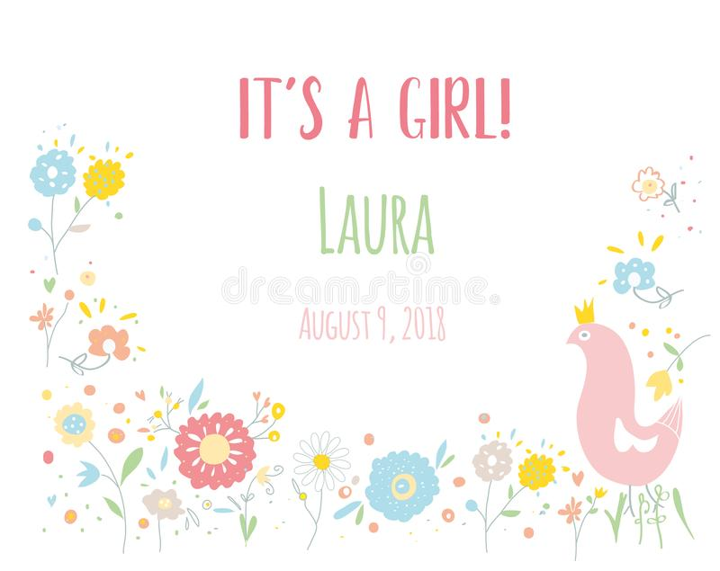 Baby girl card for the shower with flowers and bird, vector illustration vector illustration