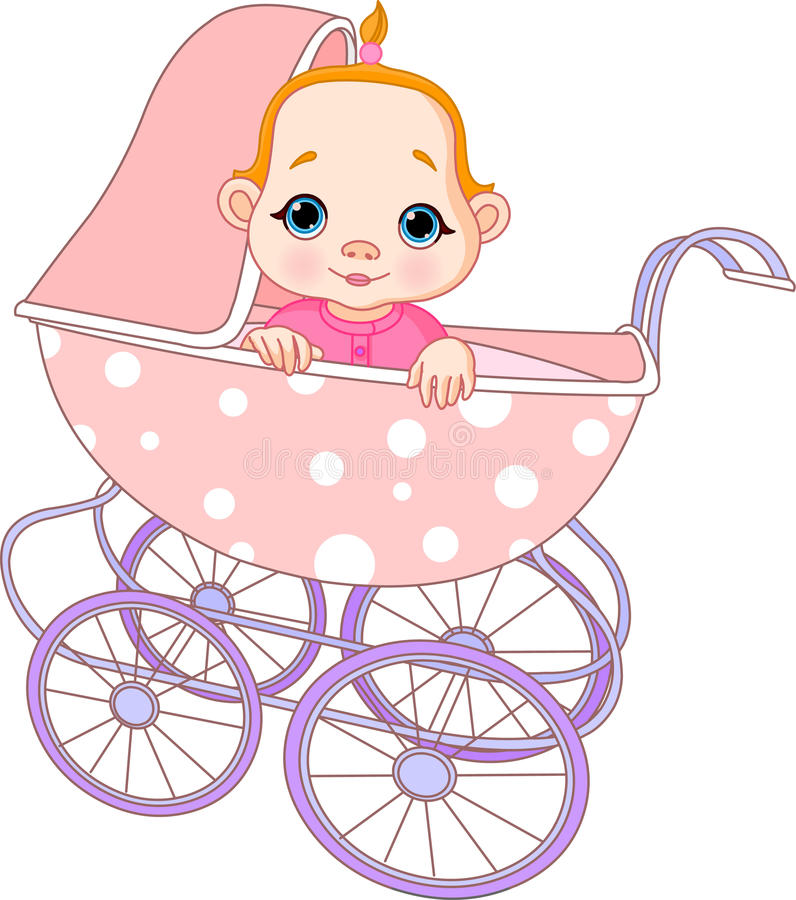 Download Baby girl in carriage stock vector. Illustration of baby - 13412031